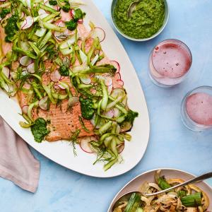 Roast Salmon with Fennel and Leeks