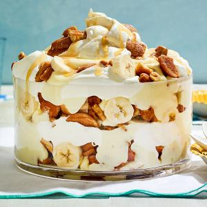 Layered Banana Pudding with Cookie-Peanut Brittle