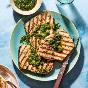 Grilled Swordfish with Chermoula Sauce