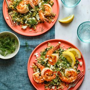 Lemony Shrimp with Greek Cauliflower Rice
