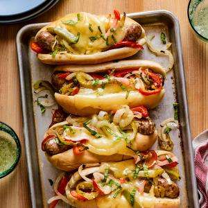 Sheet Pan Sausage-and-Pepper Subs