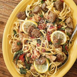 Chef David Turin's Lemon Pepper Chicken Pasta with Sausage