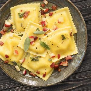 Chef Dorene Mills' Pumpkin Ravioli with Pancetta and Apples