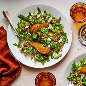 Caramelized Pear Salad with Warm Pancetta Vinaigrette