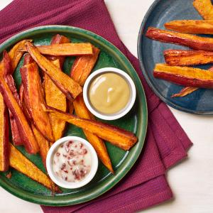 Baked Sweet Potato Fries with Sweet and Savory Dipping Sauces