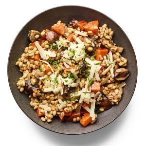 Cheesy Barley with Mushrooms and Sweet Potatoes