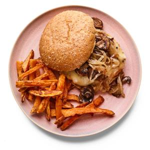 Chicken-Mushroom Melts with Sweet Potato Fries