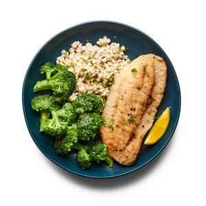 Crispy Ranch Flounder with Broccoli
