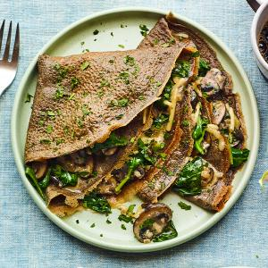 Buckwheat Crepes with Mushrooms and Spinach
