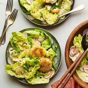 Bibb Salad with Crispy Baked Goat Cheese
