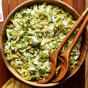 Crunchy Broccoli and Brussels Sprout Slaw