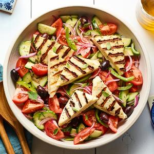 Greek Salad with Grilled Halloumi