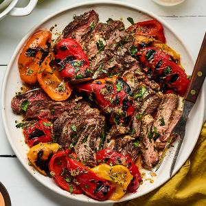 Grilled Rib-Eyes with Marinated Peppers