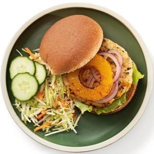 Teriyaki Chicken Burgers with Broccoli Slaw