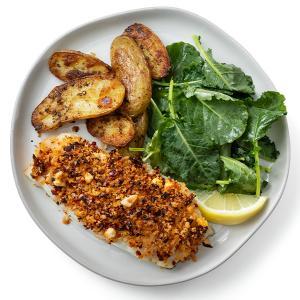 Crispy Baked Fish with Lemony Potatoes