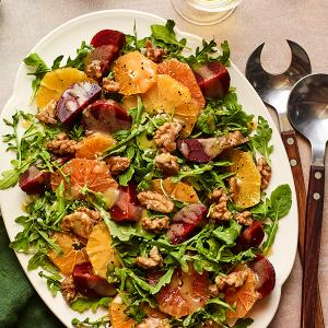 Orange and Beet Salad with Quick Candied Walnuts
