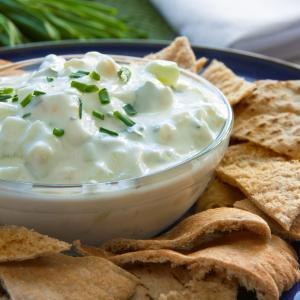 Greek Cucumber Dip with Pita Triangles