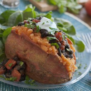 Sweet Potatoes with Black Bean Salsa