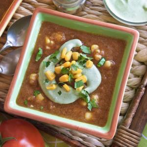 Chilled Tomato Soup with Cilantro-Yogurt Swirl