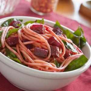 Spaghetti with Beets & Greens