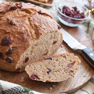Cranberry Spice No-Knead Bread