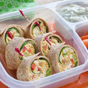 Mediterranean Chicken Salad Pinwheels