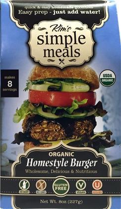 Kim's Simple Meals Organic Homestyle Burger