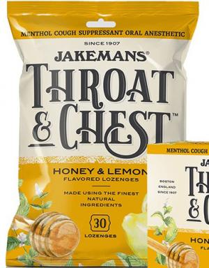 Jakemans Throat & Chest Honey and Lemon Flavored Lozenges