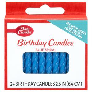 Betty Crocker Medium Blue Spiral Candles