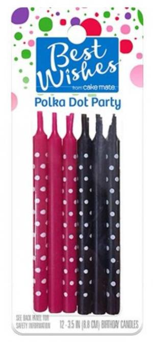 Best Wishes Polka Dot Birthday Party Candles