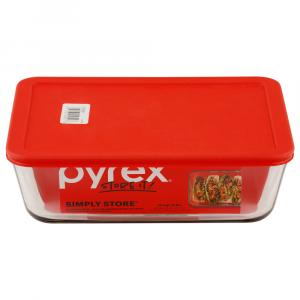 Pyrex Storage Plus 11-Cup Rectangle Container with Red Cover