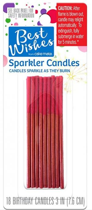 Best Wishes Relight Sparkle Red Birthday Candles