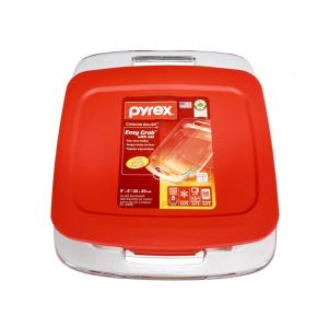 """Pyrex Easy Grab 8"""" Square with Red Plastic Cover"""