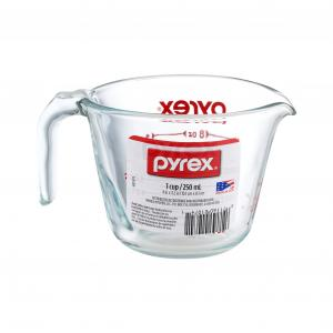 Pyrex Prepware 1-Cup Clear Measuring Cup with Red Graphics