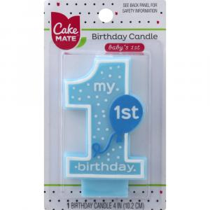 Cake Mate Baby's 1st Birthday Blue Candle