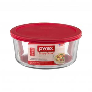 Pyrex Storage Plus 7-cup Round Container With Red Cover
