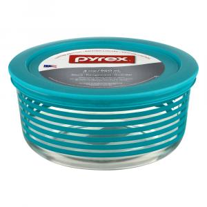 Pyrex Decorating Storage Turquoise Stripes