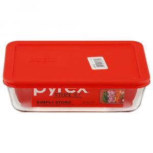 Pyrex Storage Plus 6-cup Rectangle With Red Plastic Cover