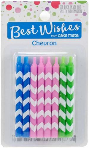 Best Wishes Chevron Birthday Candles