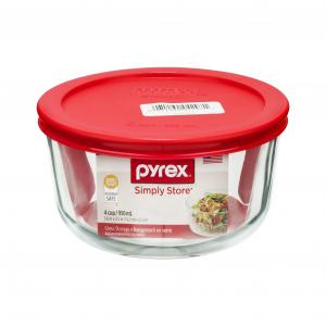 Pyrex Storage Plus 4-Cup Round w/Red Plastic Cover