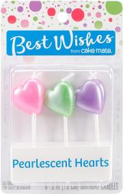 Best Wishes Pearlescent Hearts Birthday Candles