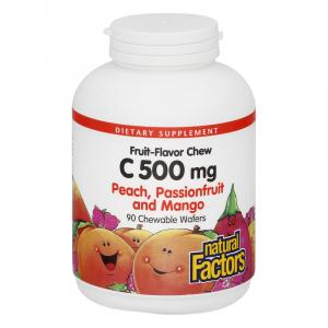 Natural Factors Chewable Vitamin C 500 Mg Peach