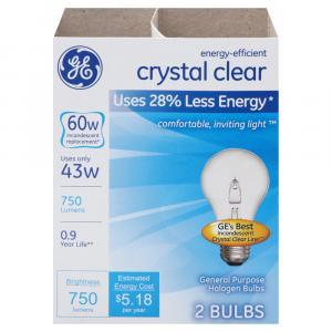 GE 60w Halogen Crystal Clear Energy Efficient Bulbs
