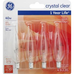 GE 40w Crystal Clear 1 Year Life Decorative Candle Bulbs