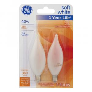 GE 40w Soft White 1 Year Life Decorative Candle Bulbs