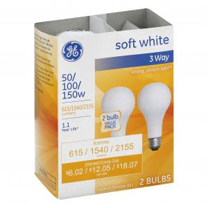 GE 50/100/150w Soft White 3 Way Bulbs