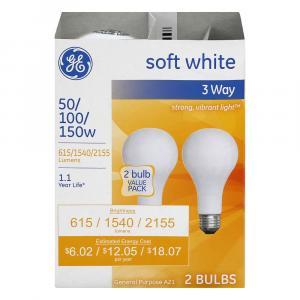 GE 50/100/150w Soft White 3 Way Bulbs