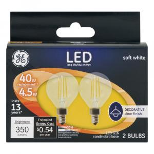 GE LED 5w Soft White Clear Globe