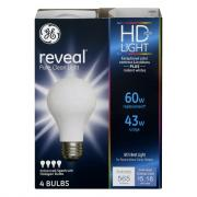 GE Reveal HD 43w (60w Equivalent) Halogen Bulbs