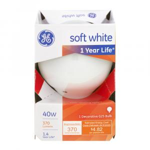 GE 40w Soft White 1 Year Life Round Decorative Bulb